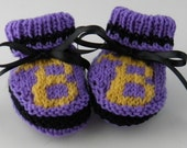 Baltimore Ravens Inspired Knit Baby Booties Size 0 to 3 Months Made to Order - BabywearbyBabs