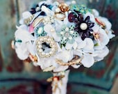 Brooch Bouquet Vintage Lace jewelry pearl wedding bouquet with FREE TOSS/BRIDESMAID bouquet