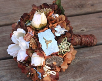 Country Western Brooch Bouquet cowboy etsy wedding, Deposit only