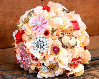 Brooch Bouquet Vintage peach pink coral lace bridal etsy wedding