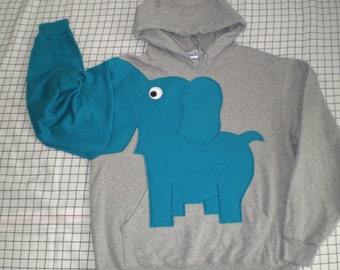 Elephant shirt, trunk sleeve elephant HOODiE, Grey YOUR ELEPHANT COLOR choice UNiSEX Small, elephant sweatshirt, hooded sweatshirt