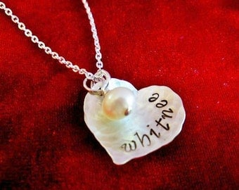 Hand Stamped Necklace Hammered Sterling Silver Heart with Name