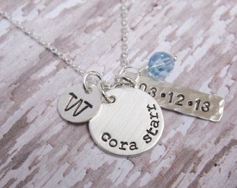 Necklace with Kids Name and Birthdate Sterling Silver Hand Stamped Hammered Disc