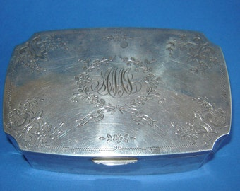 1913  Antique Old Vintage GORHAM STERLING SILVER Ornate Jewelry box Marked