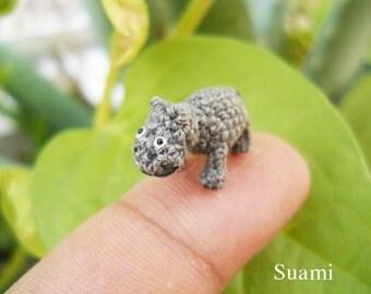 Micro Baby Hippo - Teeny Tiny Amigurumi Miniature Crochet Animal Toys - Made To Order