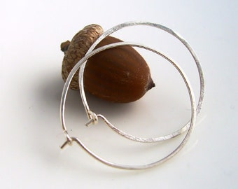 Sterling Silver Hoop Earrings, Silver Circles, 925 Silver, Everyday Earrings, 1 inch hoops