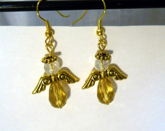 Angel earrings, iridescent and gold