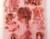 "Anime Girls / Clear stamps large sheet (7""x10"") UM FLONZ 403-95"