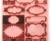 """Clear stamps large sheet (7""""x10"""") Damask Fluorish Baroque Frames Vintage FLONZ 403-123"""
