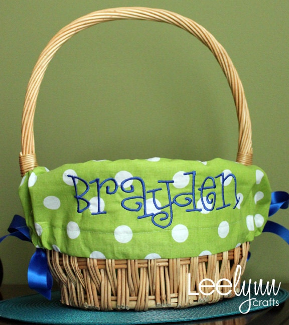 Green Polka Dot Personalized Monogrammed Easter Basket Liner