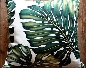 Palm Leaf Cushion Cover, Tropical Leaf Cushion Cover, Monstera Leaf Cushion Cover, Hawaiian Cushion Cover, Mid Century Cushion