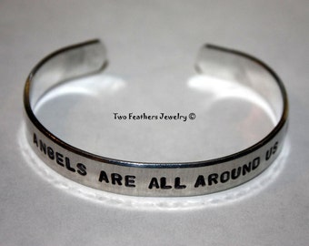 Angels Bracelet - Hand Stamped Cuff Bracelet - Message Bracelet - Inspirational Cuff - Gift For Her - Angel Wing Cuff - Non Tarnish Cuff