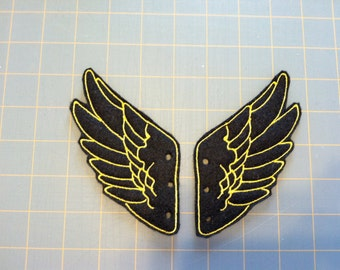 Black and Bright Yellow Percy Jackson Inspired Shoe Wings