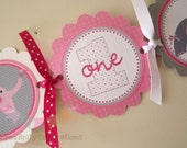 Pink and Grey Elephant Heart High Chair Banner -I am 1 Banner - High Chair Bunting - Elephant - Elephant Banner -Elephant 1st Birthday