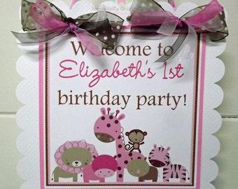 Girl Safari Door Sign -Party Sign -Hanging Sign -Safari Animals-Safari Baby Shower -Safari Birthday