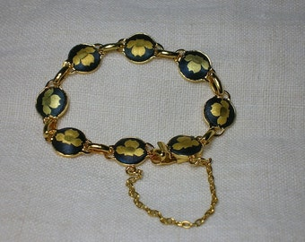 Vintage Japanese Bracelet, Shakudo Damascene. Leaves, Petals Motif