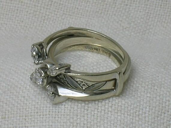 Vintage Wedding Rings Set 1960s Atomic White Gold