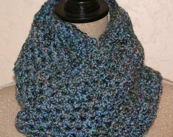 CLEARANCE SALE - Blue/Green/Navy Soft Victoria Cowl - Neck Warmer - Adults/Teens - OOAK Ready To Ship - Handmade & Crocheted Crochet