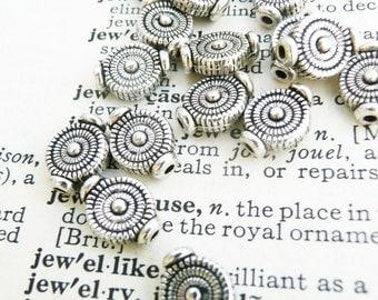 tibetan silver beads, flat round beads, silver toned beads, 20 pcs