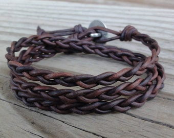 Braided Leather Wrap Bracelet - Antique Brown Leather Cord with Celtic Knot Button Closure