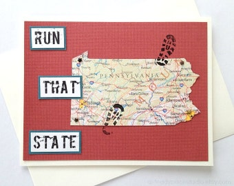 Pennsylvania - Run (or RAN) That State or Enjoy Your Run - Handmade Running Greeting Card for Marathon, Half-Marathon, 10K, 5K Runners