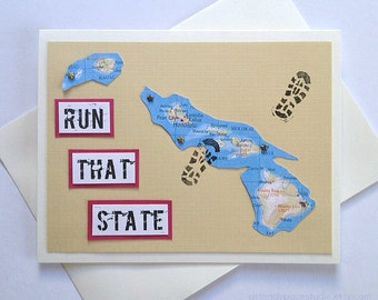 Hawaii - Enjoy your run, race, time or Run (RAN) That State - Handmade Running Greeting Card - Marathon, Half-Marathon, 10K, 5K, Triathlon