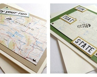 Wyoming - Run (or RAN) That State or Enjoy Your Run Handmade Greeting - Card for Marathon, Half-Marathon, 10K, 5K Runners