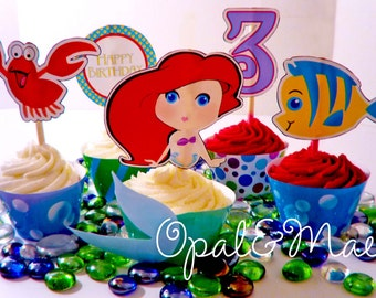Princess Little Mermaid Digital Printable Party Cupcake Wrappers and Toppers