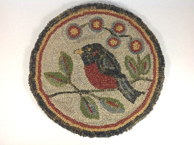 Rug Hooking Kit For Red Robin Chair Pad Or Table Mat 14