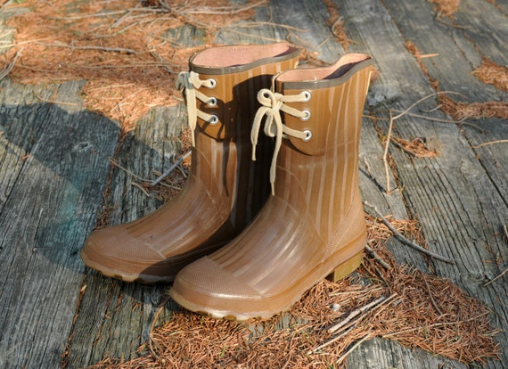 50s Brown Rubber Rain Boots 1950 Royal Red By
