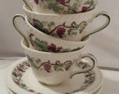 Antique Harker Royal Gadroon Cups and Saucers Grape Vine Pattern