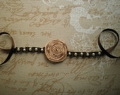 Ribbon bracelet, with pearls and flower - Brown bracelet with tiny white pearls and beige flower
