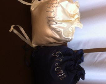 Custom Made Money Bag Dollar Dance Set  For Bride and Groom Satin with Rhinestone Accent.