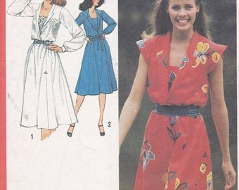 Misses dress with front set in camisole size 16 bust 38 simplicity 9450 sewing pattern from 1980