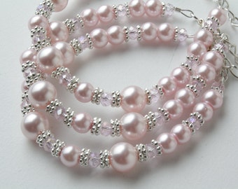 Pink  Flower girl bracelet - Bridesmaid bracelet - Wedding pearls and crystals bracelet - Pink pearl bracelet