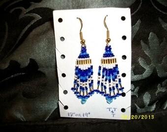 Light Blue Gold n Blue Earrings