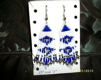 Navy Blue n Royal Blue n White Earrings  D