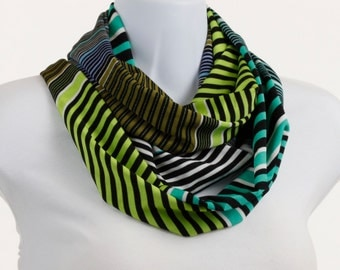 Teal Lime Green Blue Scarf stretch Spandex Knit Infinity Scarf BOLD ~ K065-L5