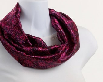 Silky Infinity Scarf Bright Pink and Deep Blue Abstract Design ~ SK004-S5