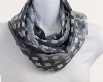 Steel Blue Gray INFINITY scarf with gold thread accent - Lovely Wide Sheer ~ SH129-L5