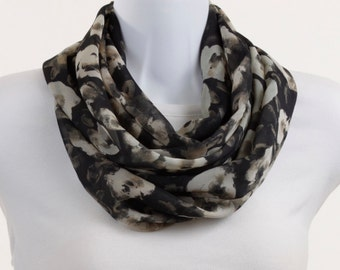 Long Infinity Scarf -  Shades of Taupe on Dark Gray with Abstract Floral Design ~ SH132-L1
