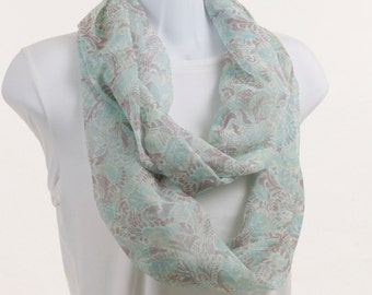 Infinity Scarf  Cockatoo Green, Light Brown and Tan Paisley ~ SH080-L1