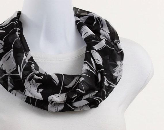 Sheer Infinity Scarf - Bright White Tulip floral design on JET Black ~ SH076-S5