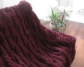 Ready-Made Knit Afghan---DAINTY in CLARET