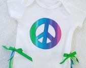 Ruffle Bum Bodysuit / Peace Sign Applique