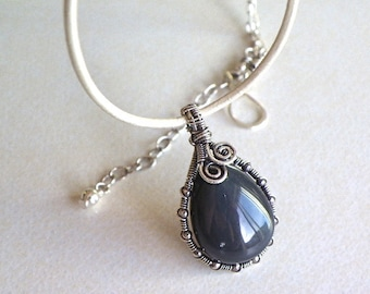 Handmade wire wrapped sterling silver necklace agate pendant white leather necklace
