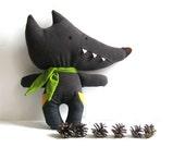 "Wolf stuffed toy wolf soft toy rag doll wolf softie wolf plushie plush toy stuffed animal woodland handmade toy brown 30 cm 11.8"""