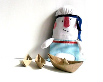 "Sailor soft toy stuffed toy rag doll softie plushie navy blue white red nautical handmade toy 13.3"" 34 cm"