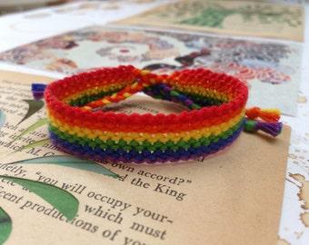 Rainbow striped friendship bracelet