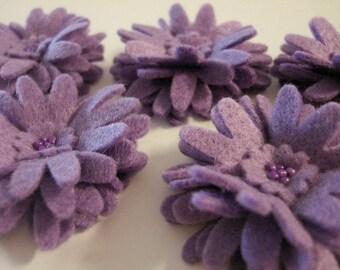 Set of 5pcs handmade felt Daisy - lavender (DA)